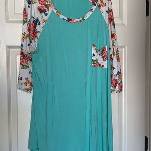 Plus Size Mint Tunic with Floral Accents